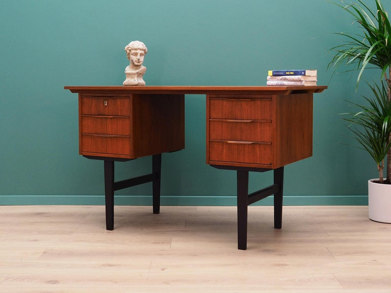 Veneer Retro Desk Scandinavian Design, 1960-1970 For Sale