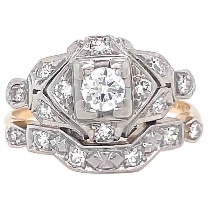 Retro Diamond 14 Karat Gold Engagement Ring