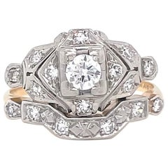 Retro Diamond 14 Karat Gold Engagement Ring