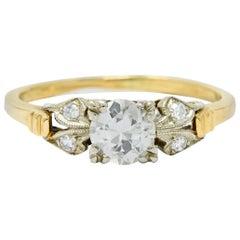Retro Diamond 14 Karat Two-Tone Gold Engagement Ring
