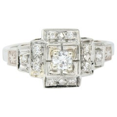 Retro Diamond 14 Karat White Gold Engagement Ring, circa 1940s