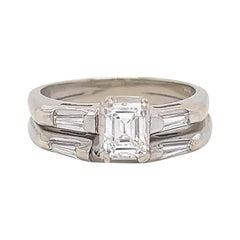 Retro Diamond 14k White Gold Wedding Set