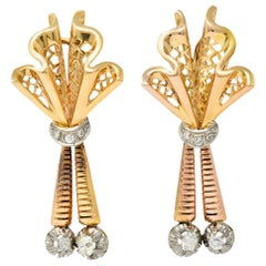 Retro Diamond 18 Karat Tri-Colored Gold Articulated Drop Earrings