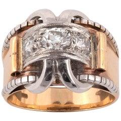 Retro Diamond and Eighteen Karat Gold Ring