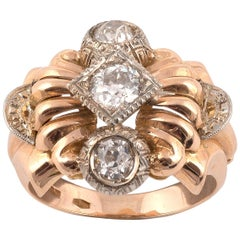 Retro Diamond and Eighteen Karat Gold Ring