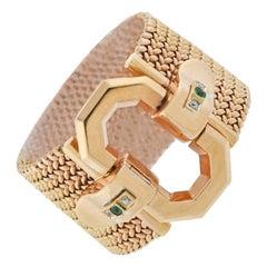 Retro Diamond and Emerald Buckle Bracelet