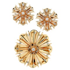 Retro Diamond and Gold Flower Brooch Pendant and Earring Set