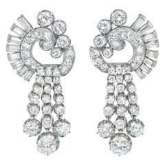 Retro Diamond and Platinum Pendant Earrings of Scroll and Tassel Design