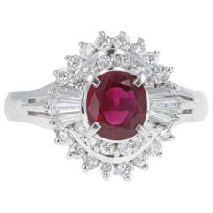 Retro Diamond and Ruby Cocktail Ring