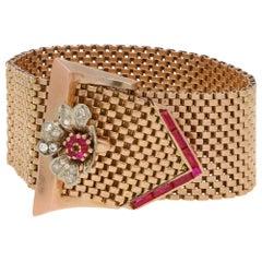 Diamond and Ruby Belt Buckle Bracelet Set in 18k Rose Gold, circa 1940