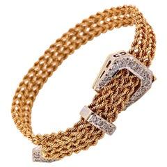 Retro Diamond Buckle Clasp Gold Braided Link Bracelet Estate Fine Jewelry
