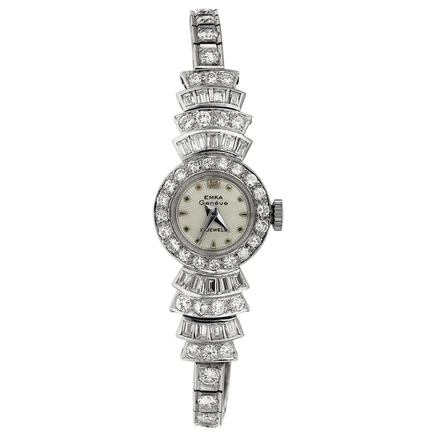 Retro/Vintage 1960's Diamond Cocktail Dress Watch in Platinum, Swiss Movement