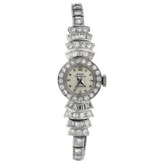 Retro/Vintage 1960's Diamond Cocktail Dress Watch in Platinum, Swiss Movement