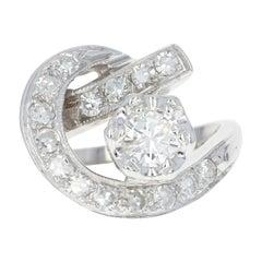 Retro Diamond Cocktail Ring, 14 Karat Gold Women's Crescent 1940s 1.01 Carat