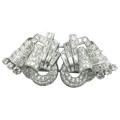 Art Deco Diamond Double Clip, circa 1940s
