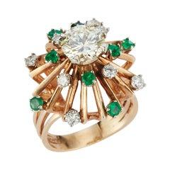 Retro Diamond & Emerald Cocktail Ring