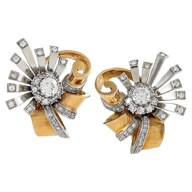 White and Yellow Gold Diamond Sunburst Earrings