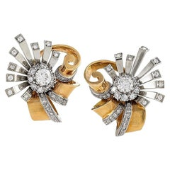 Retro Diamond Gold and Platinum Flower Earrings