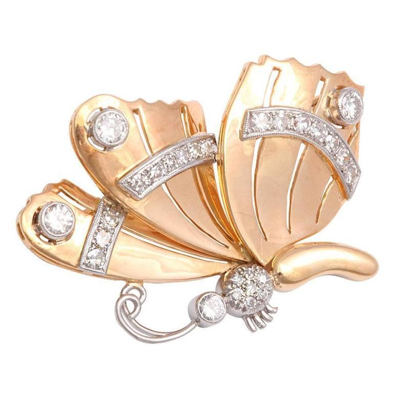 Women's Retro Diamond Gold Butterfly Brooch Pin For Sale