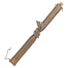Retro Diamond Gold Ribbon Bracelet
