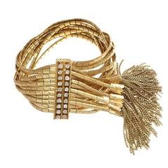 Retro Diamond Gold Tassel Bracelet