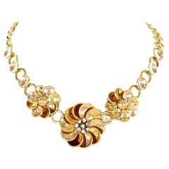Retro Diamond Necklace in 18 Karat Yellow and Rose Gold