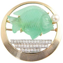 Retro Diamond, Pearl and Gold Carved Emerald Fish Bowl Brooch