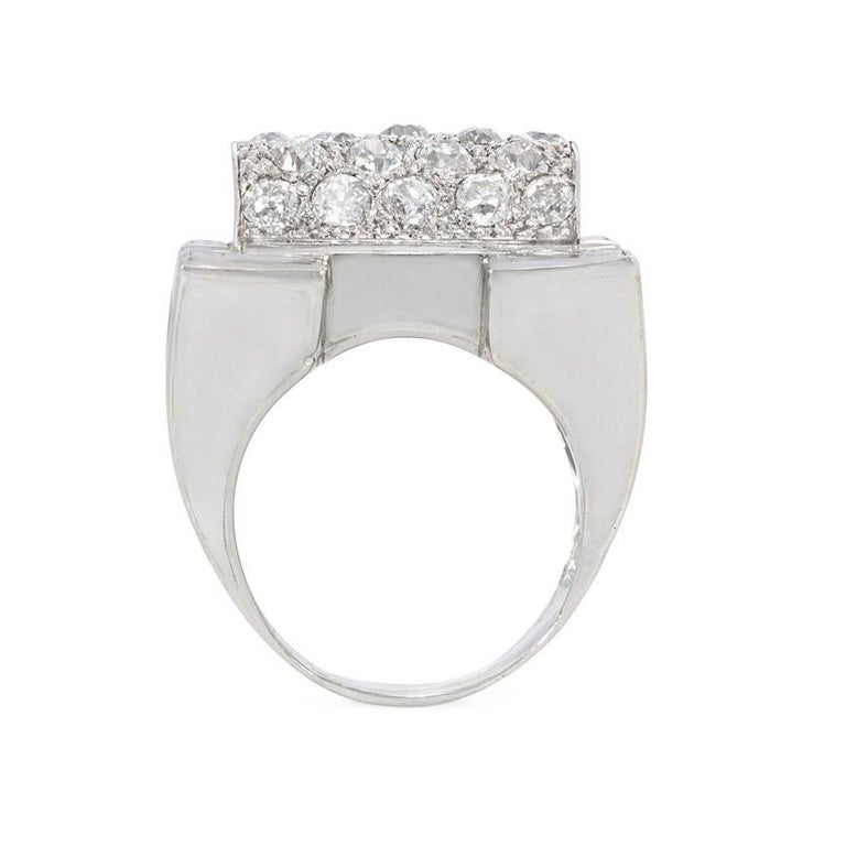 Baguette Cut Retro Diamond, Platinum, and Gold Ring of Geometric Sculptural Design For Sale