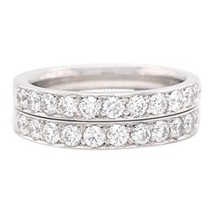 Retro Diamond Platinum Eternity Band Set