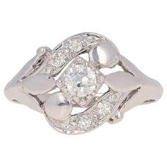 Retro Diamond Ring, 14 Karat White Gold European Cut Vintage .42 Carat