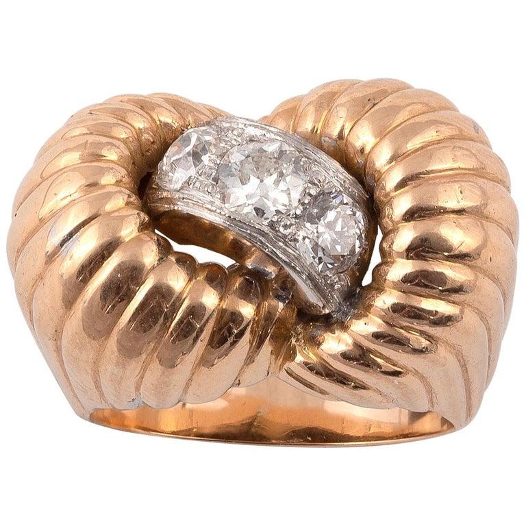 Retro Diamond Ring, 1940s For Sale