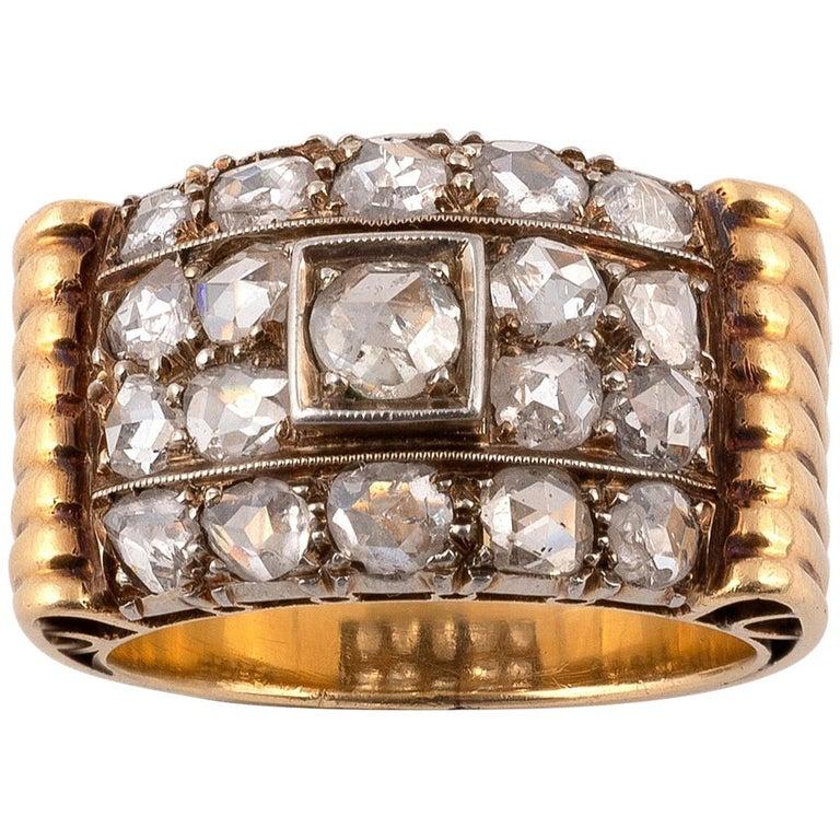 Retro Diamond Ring, circa 1940 For Sale