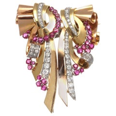 Retro Diamond Ruby 14 Karat Gold Platinum Double Clip Brooch
