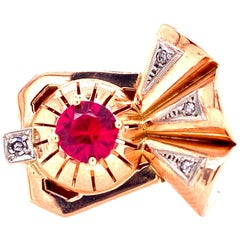 Retro Diamond Ruby 14 Karat Rose Gold Cocktail Ring