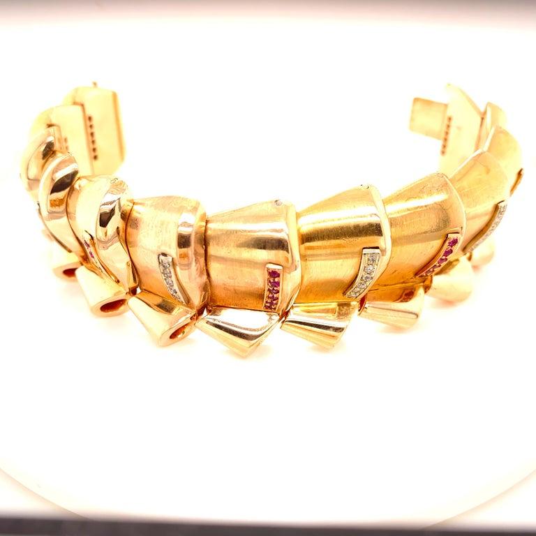 Round Cut Retro Diamond Ruby 18 Karat Rose Gold Wide Link Bracelet For Sale