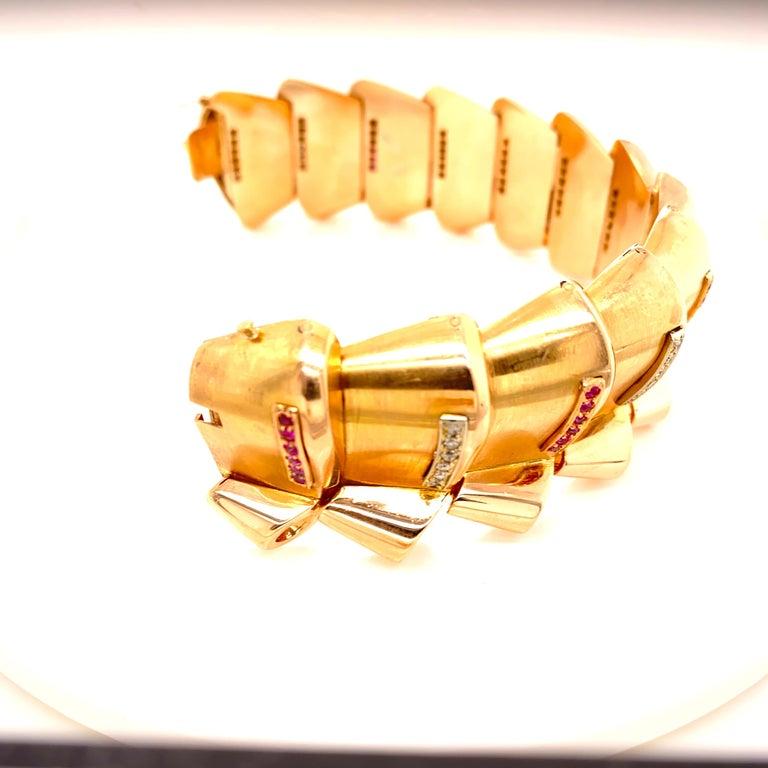 Retro Diamond Ruby 18 Karat Rose Gold Wide Link Bracelet In Good Condition For Sale In Boca Raton, FL