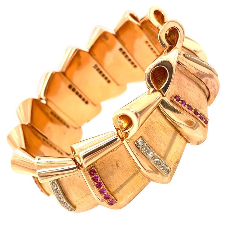 Retro Diamond Ruby 18 Karat Rose Gold Wide Link Bracelet For Sale