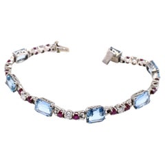 Retro Diamond Ruby Aquamarine Platinum Bracelet