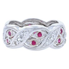 Retro Diamond & Ruby Eternity Band, Platinum Vintage Ring Old European .74 Carat