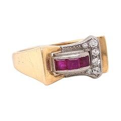 Retro Diamond Ruby Gold Ring
