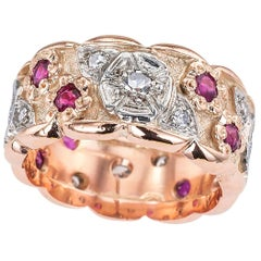 Retro Diamond Ruby Pink Gold Eternity Ring