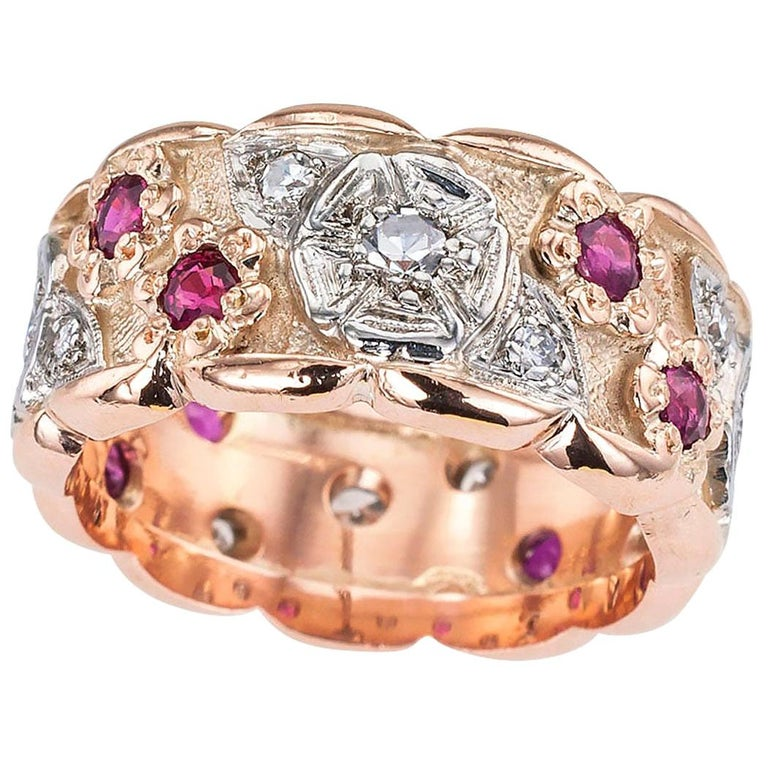 Retro Diamond Ruby Pink Gold Eternity Ring For Sale