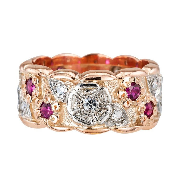 Round Cut Retro Diamond Ruby Pink Gold Eternity Ring For Sale