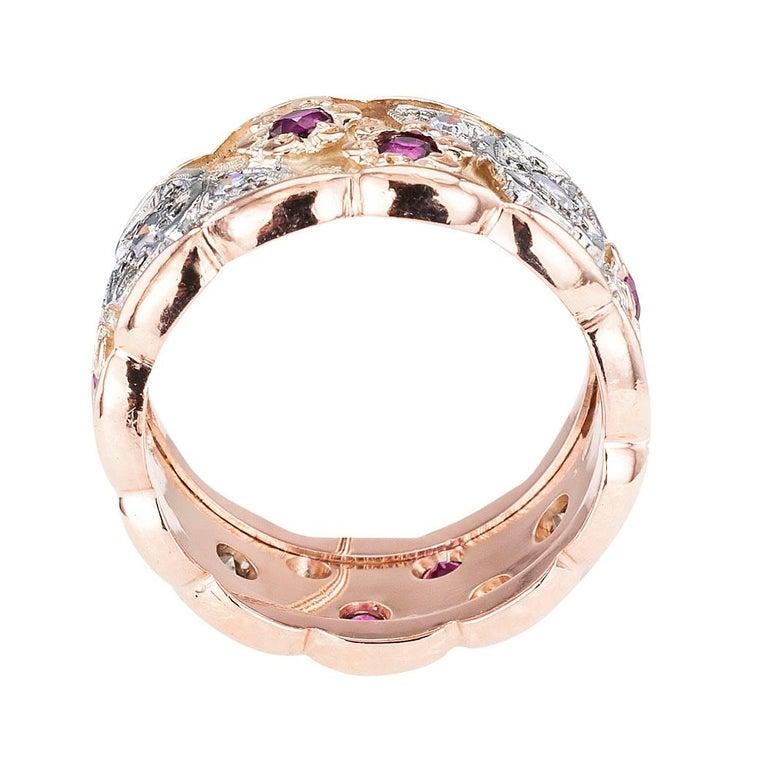 Women's or Men's Retro Diamond Ruby Pink Gold Eternity Ring For Sale