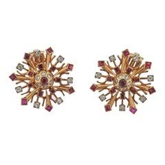 Retro Diamond Ruby Rose Gold Snowflake Earrings