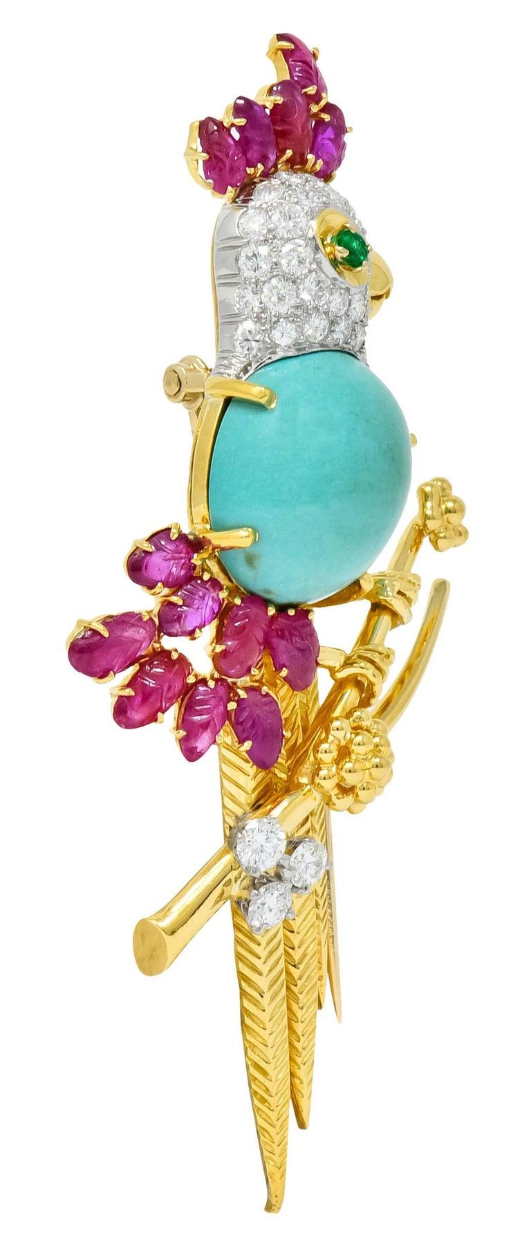 Oval Cut Retro Diamond Ruby Turquoise Emerald 18 Karat Gold Cockatoo Bird Brooch For Sale