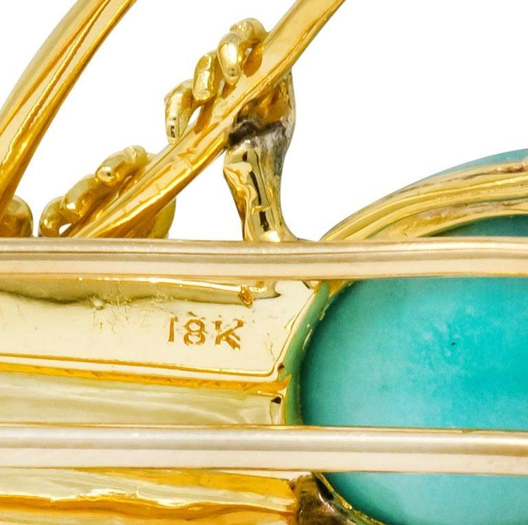 Women's or Men's Retro Diamond Ruby Turquoise Emerald 18 Karat Gold Cockatoo Bird Brooch For Sale