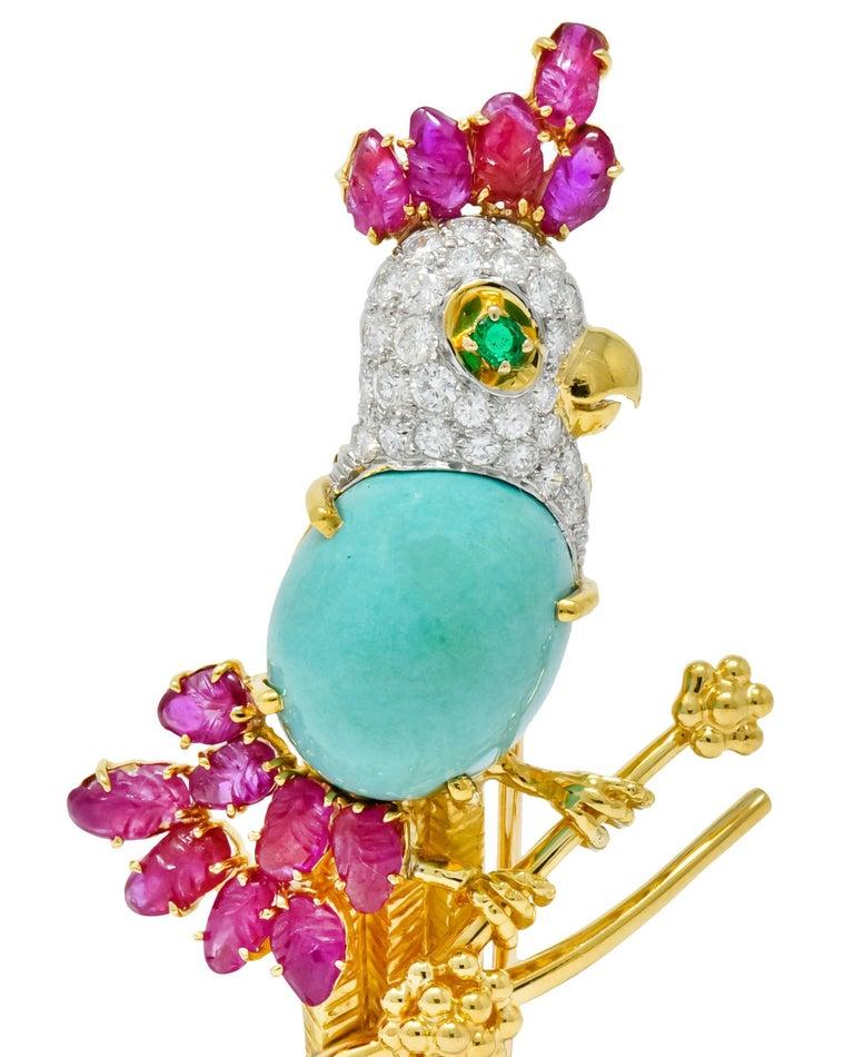 Retro Diamond Ruby Turquoise Emerald 18 Karat Gold Cockatoo Bird Brooch For Sale 1