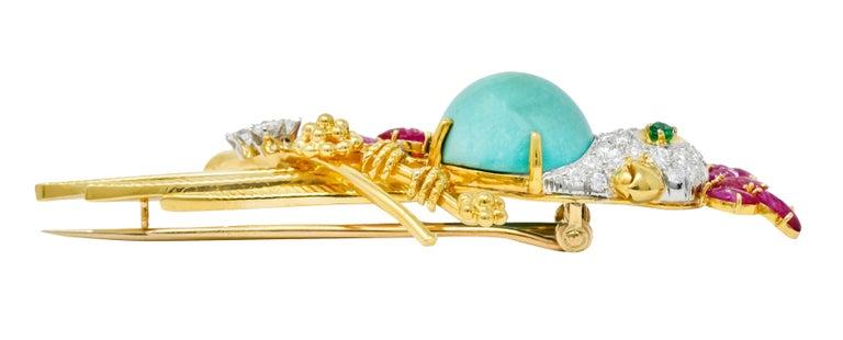 Retro Diamond Ruby Turquoise Emerald 18 Karat Gold Cockatoo Bird Brooch For Sale 3