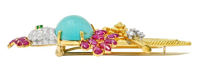 Retro Diamond Ruby Turquoise Emerald 18 Karat Gold Cockatoo Bird Brooch For Sale 4